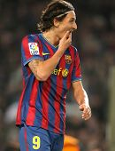 BARCELONA, SPAIN - NOV 7: Swedish  striker Zlatan Ibrahimovic of Barcelona during Spanish league mat