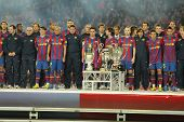 BARCELONA - JAN 2: FC Barcelona players at the party with the 6 trophies of the year at the Nou Camp