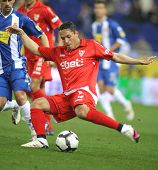 BARCELONA - MARCH 20: Adriano Correia of Sevilla during a Spanish League match between Espanyol and