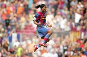 BARCELONA, SPAIN - SEPT. 2: Brazilian player Ronaldinho in action during the spanish league match between Barcelona and Bilbao at Nou Camp Stadium in Barcelona, Spain. September 2, 2007.