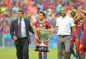 BARCELONA - AUGUST 25: President Laporta and Manager Guardiola celebrate the league trophy for FC Ba