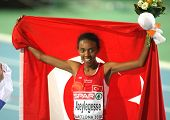BARCELONA, SPAIN - JULY 28: Elvan Abeylegesse of Turkey celebrates after  Women 10000m final on the