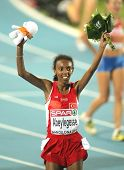 BARCELONA, SPAIN - JULY 28: Elvan Abeylegesse of Turkey celebrates the Women 10000m victory during t