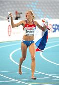 BARCELONA, SPAIN - JULY 30: Zarudneva of Russia celebrates gold on the Women 3000m steeplechase during the 20th European Athletics Championships at the Olympic Std on July 30, 2010 in Barcelona, Spain