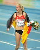BARCELONA - JULY 29: Verena Sailer of Germany celebrates gold on the Women 100m during the 20th European Athletics Championships at the Olympic Stadium on July 29, 2010 in Barcelona, Spain
