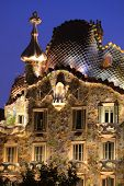 BARCELONA, SPAIN - 1 OCT: A view of the top of Casa Batllo in Barcelona, Spain, designed by architec