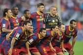 BARCELONA - OCT 3: Futbol Club Barcelona Team before the match between FC Barcelona and Mallorca in