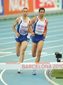 BARCELONA, SPAIN - AUG 1: Tahri(L) and Mekhissi-Benabbad(R) of France compete on 3000m steeplechase Final of the 20th European Athletics at the Olympic Stadium on August 1, 2010 in Barcelona, Spain