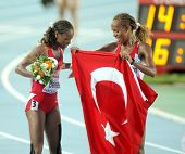 BARCELONA - AUG 1: Erdogan and Bekele of Turkey celebrate victory on 5000m women final of the 20th E