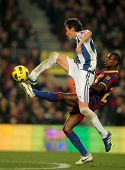 BARCELONA - DEC 12: Joseba Llorente of Real Sociedad in action during a Spanish League match between