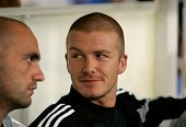BARCELONA- SEPT 18: David Beckham of Real Madrid before the match between Espanyol and Real Madrid at the Olympic Stadium on September 18, 2004 in Barcelona, Spain