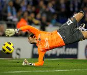 BARCELONA - JAN 30: Diego Lopez of Villareal during a Spanish League match between Espanyol and Vill