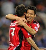 BARCELONA - 1 de MAR: Akihiro Ienaga (R) de Mallorca celebra gol durante el partido entre Espanyol