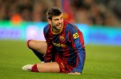 BARCELONA - MARCH 5: Gerard Pique of Barcelona during the match between FC Barcelona and Real Zarago