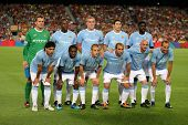 BARCELONA - AUG 19: Manchester City Team before the Trophy Joan Gamper's match between FC Barcelona