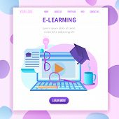 Square Banner With Copy Space. Laptop With Webinar Window. Academic Cap, Certificate, Magnifier, Mug poster