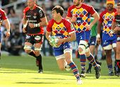 BARCELONA - APRIL 9: Perpignan's fullback Porical drives the ball during the Heineken European Cup m