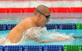 BARCELONA - JUNE 5: Hungarian World champion Laszlo Cseh swims the breaststroke during the