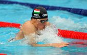 BARCELONA - JUNE 5: Hungarian World champion Daniel Gyurta swims breaststroke during the Mare Nostru