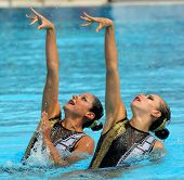 BARCELONA -JUNE 18: Mexican synchro swimmers Mariana Cifuentes and Isabel Delgado in a Duet exercise