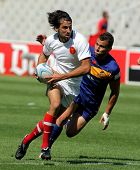 BARCELONA - JULY 9: Paul Albadalejo of France drives the ball during the match of Rugby7 European Ch