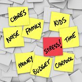 A life of stress illustrated by many sticky notes with reminders of stressful things such as Chores,