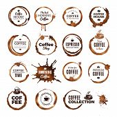 Coffee Rings Badges. Labels With Dirty Circles From Tea Or Coffee Cup Restaurant Logo Template. Coff poster