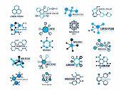 Molecular Logotypes. Evolution Concept Formula Chemistry Genetic Technology Medical Information Node poster