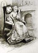 Old sick woman sitting in a chair - llustration by M. Shcheglov,