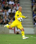 BARCELONA, SPAIN - AUG. 2: Goalkeeper Pepe Reina of Liverpool FC in action during a friendly match against RCD Espanyol at the Estadi Cornella-El Prat on August 2, 2009 in Barcelona, Spain