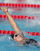 BARCELONA, SPAIN - JUNE 14: American Olympic champion swimmer Kaitlin Sandeno swims backstroke durin