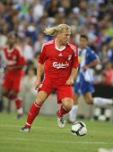 BARCELONA - AUGUST 2: Andriy Voronin, Ukrainian player of Liverpool FC, in action during a friendly match against RCD Espanyol at the Estadi Cornella-El Prat on August 2, 2009 in Barcelona, Spain.