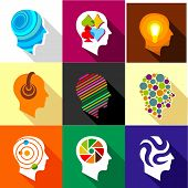 Creative Mind Icons Set. Flat Set Of 9 Creative Mind Icons For Web With Long Shadow poster