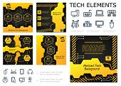 Abstract Tech Colorful Infographic Concept With Text Geometric Shapes Textures And Electronic Applia poster