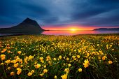 Splendid Iceland landscape with awesome Kirkjufell volcano at sunset. Location place Snaefellsnes pe poster