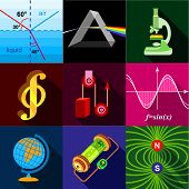 Science Research Icons Set. Flat Set Of 9 Science Research Icons For Web With Long Shadow poster