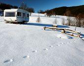 Caravan on a snowy mountain