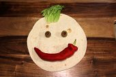 Smiling Face Healthy Eating Tortilla