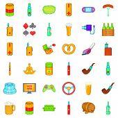 Adult Habit Icons Set. Cartoon Style Of 36 Adult Habit Icons For Web Isolated On White Background poster