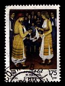 CYPRUS-CIRCA 1981: A stamp printed in CYPRUS shows image of Cypriot folk dance, circa 1981.