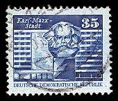 Deutschland ca. 1980: eine Briefmarke gedruckt in Deutschland zeigt Bild Chemnitz bekannt von 1953 bis 1990 als ka