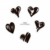 Hearts Temp Black Brush Set Color Shape poster