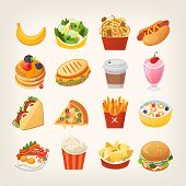 Colorful Breakfast Food Icons. Meals And Snacks For A Quick Lunch. Isolated Vector Illustrations. St poster