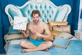 Valentines Day Celebration. Sexy Surprise For Female. Man In Luxury Bedroom With Gift Box. Man Hands poster