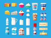 Dairy Products Set. Collection Of Milk Food. Milk, Cheese, Yogurt, Butter, Sour Cream, Cottage, Crea poster