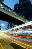 Hong Kong with traffic at night