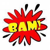 Bam Explosion Sound Effect Icon. Cartoon Illustration Of Bam Explosion Sound Effect Icon For Web Des poster