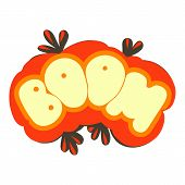 Boom Explosion Sound Effect Icon. Cartoon Illustration Of Boom Explosion Sound Effect Icon For Web D poster