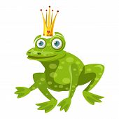 Princess Frog Icon. Cartoon Illustration Of Princess Frog Icon For Web poster