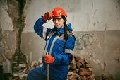Destroying Gender Stereotypes. Woman Wearing Helmet Using Different Male Work Tools. Gender Equality poster